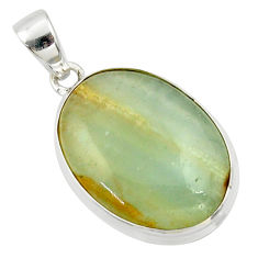 19.07cts aquatine lemurian calcite 925 sterling silver pendant jewelry r39970