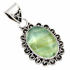 13.15cts aquatine lemurian calcite 925 sterling silver pendant jewelry r40202