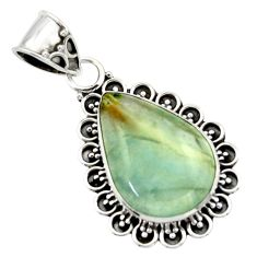 12.58cts aquatine lemurian calcite 925 sterling silver pendant jewelry r40203