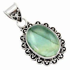 12.18cts aquatine lemurian calcite 925 sterling silver pendant jewelry r40205