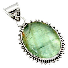 13.70cts aquatine lemurian calcite 925 sterling silver pendant jewelry r40208