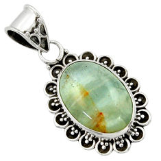 11.57cts aquatine lemurian calcite 925 sterling silver pendant jewelry r40215