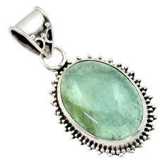 13.66cts aquatine lemurian calcite 925 sterling silver pendant jewelry r40221