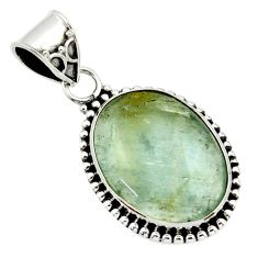 14.47cts aquatine lemurian calcite 925 sterling silver pendant jewelry r40227