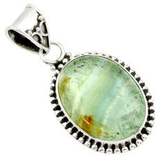 15.02cts aquatine lemurian calcite 925 sterling silver pendant jewelry r40234