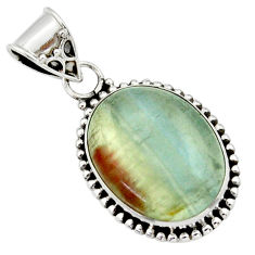 15.02cts aquatine lemurian calcite 925 sterling silver pendant jewelry r40236