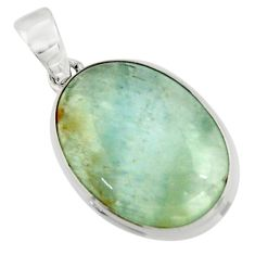 15.82cts aquatine lemurian calcite 925 sterling silver pendant jewelry r43205