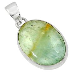 14.35cts aquatine lemurian calcite 925 sterling silver pendant jewelry r43212