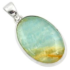 19.23cts aquatine lemurian calcite oval 925 sterling silver pendant r39961