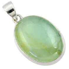 19.68cts aquatine lemurian calcite oval 925 sterling silver pendant r39972