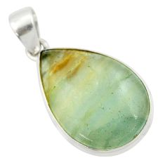 17.57cts aquatine lemurian calcite pear 925 sterling silver pendant r39965