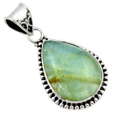 14.72cts aquatine lemurian calcite pear 925 sterling silver pendant r40213