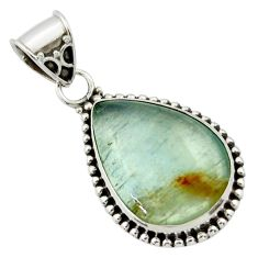 15.65cts aquatine lemurian calcite pear 925 sterling silver pendant r40230