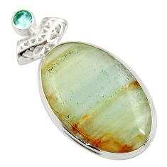 Clearance Sale- 29.32cts aquatine lemurian calcite topaz 925 sterling silver pendant d42040