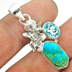 6.38cts arizona mohave turquoise hexagon topaz 925 silver angel pendant t55338