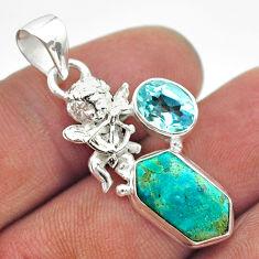 7.15cts arizona mohave turquoise hexagon topaz 925 silver angel pendant t55362