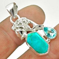 7.78cts arizona mohave turquoise hexagon topaz 925 silver fish pendant t55360