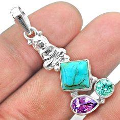 Arizona mohave turquoise topaz amethyst 925 silver buddha charm pendant t51261