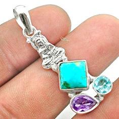 Arizona mohave turquoise topaz amethyst 925 silver buddha charm pendant t51276
