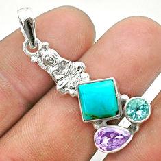 Arizona mohave turquoise topaz amethyst 925 silver buddha charm pendant t51279