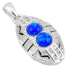 Art deco blue australian opal (lab) topaz 925 silver pendant a63590 c15257