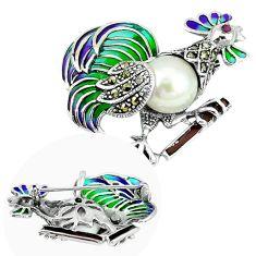 Art nouveau natural white pearl marcasite 925 silver brooch pendant c20814