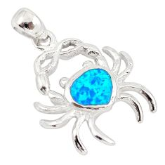 Australian opal (lab) enamel 925 sterling silver crab pendant jewelry c25846