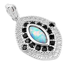 4.91cts australian opal (lab) topaz 925 sterling silver pendant a96650 c24389