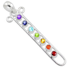 Balancing seven chakra mind body soul balance 925 silver pendant jewelry r65335