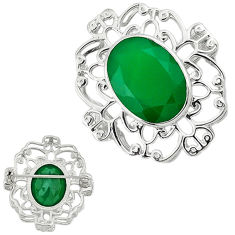 Big gem natural green chalcedony 925 sterling silver pendant jewelry c22144