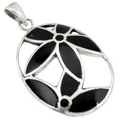 Black onyx enamel 925 sterling silver pendant jewelry c12560