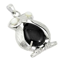 Black onyx white pearl 925 sterling silver owl pendant jewelry c21614