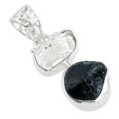 8.84cts black tourmaline rough herkimer diamond 925 silver pendant t20968