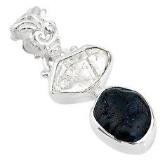 8.87cts black tourmaline rough herkimer diamond 925 silver pendant t20969