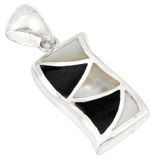 Blister pearl onyx enamel 925 sterling silver pendant jewelry a75764 c14454
