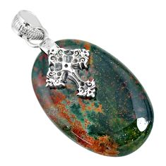26.46cts bloodstone african (heliotrope) 925 silver holy cross pendant r90987