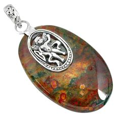 34.51cts bloodstone african (heliotrope) 925 silver pendant r90993