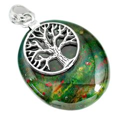 42.91cts bloodstone african (heliotrope) 925 silver tree of life pendant r90901