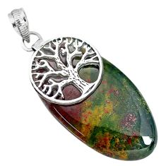 38.71cts bloodstone african (heliotrope) 925 silver tree of life pendant r90998