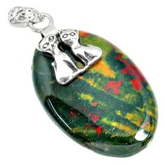 29.02cts bloodstone african (heliotrope) 925 silver two cats pendant r90914