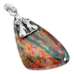 29.93cts bloodstone african (heliotrope) 925 silver two cats pendant r90997