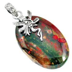 31.75cts bloodstone african (heliotrope) silver angel wings fairy pendant r90903