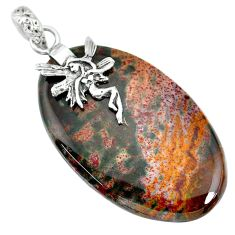 38.60cts bloodstone african (heliotrope) silver angel wings fairy pendant r90915