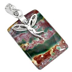 Clearance Sale- 33.81cts bloodstone african (heliotrope) silver angel wings fairy pendant r90981