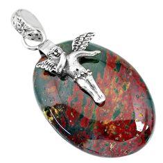 34.51cts bloodstone african (heliotrope) silver cupid angel wings pendant r90996