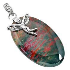 39.45cts bloodstone african 925 silver angel wings fairy pendant r90995