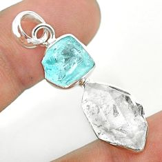 11.07cts blue aquamarine raw herkimer diamond 925 silver pendant t49154