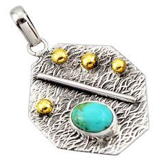 3.24cts blue arizona mohave turquoise 925 silver 14k gold pendant r37174