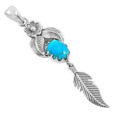 4.02cts blue arizona mohave turquoise 925 silver dreamcatcher pendant r67553
