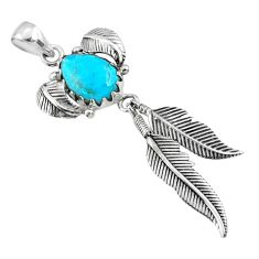 5.30cts blue arizona mohave turquoise 925 silver dreamcatcher pendant r67671